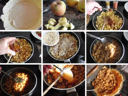 Pastel improvisado de manzana, almendras y moscatel