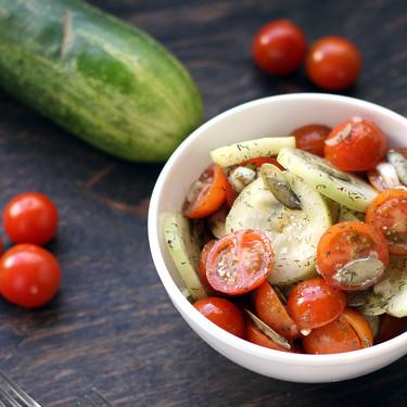 Ensalada fresca de pepino y jitomates cherry. Receta