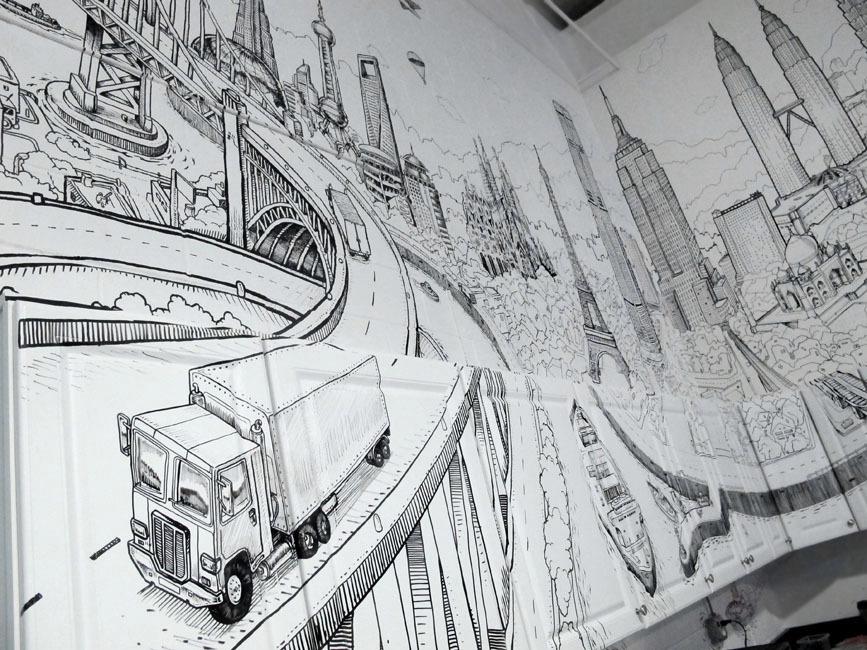 Foto de Global City, un gran mural con la ciudad de ciudades (4/7)