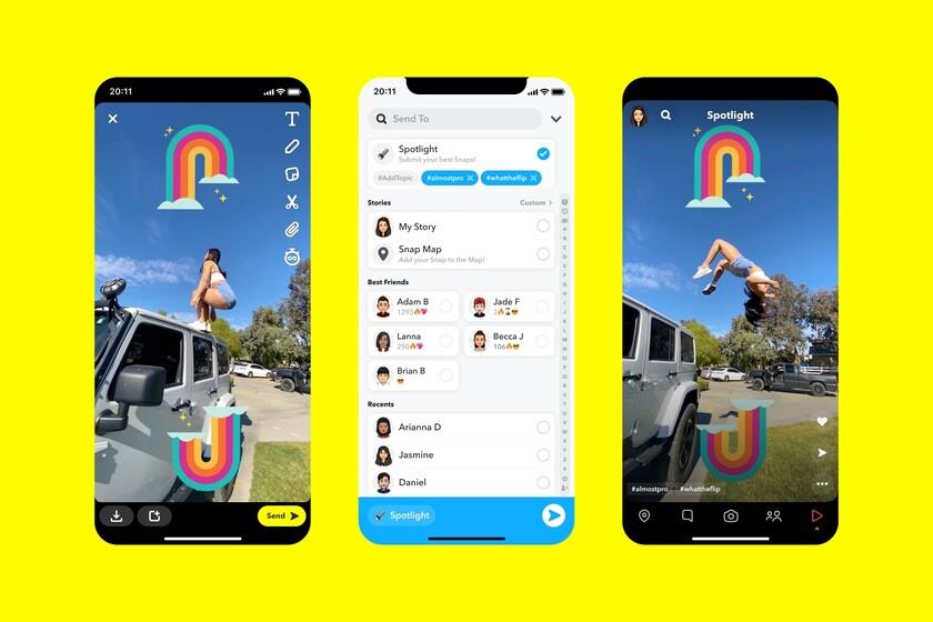 """Spotlight es el nuevo """"TikTok de Snapchat"""": una red anónima, sin comentarios y con un millón de dólares al día a repartir..."""