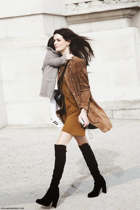 Paris Fashion Week Fall Winter 2015 Street Style Pfw Over The Knee Boots Suede Coat 790x1185