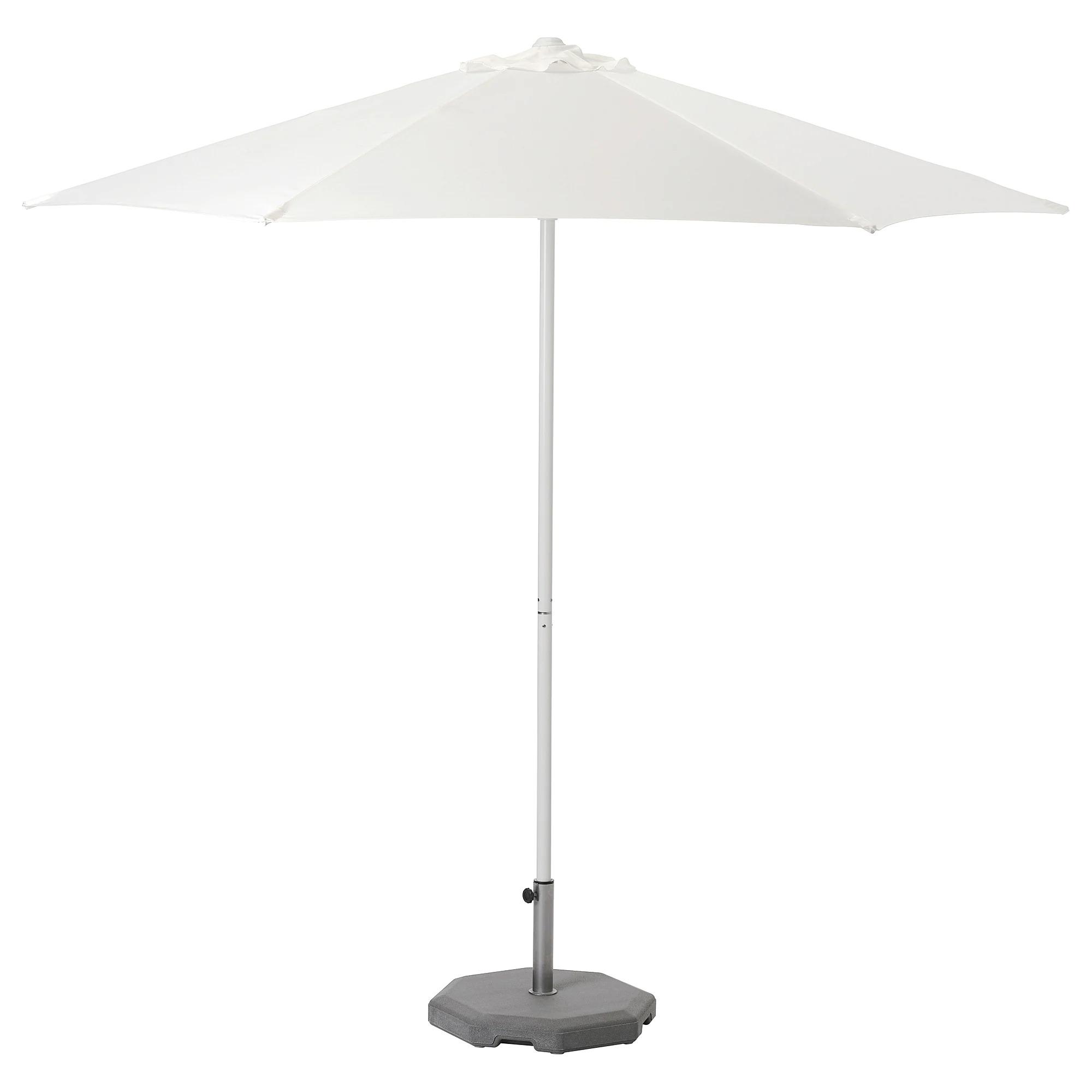 HÖGÖN Sombrilla con soporte, blanco/Huvön gris oscuro 270 cm