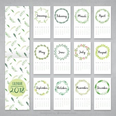 Calendario 2018 De Hojas De Acuarela 23 2147618465