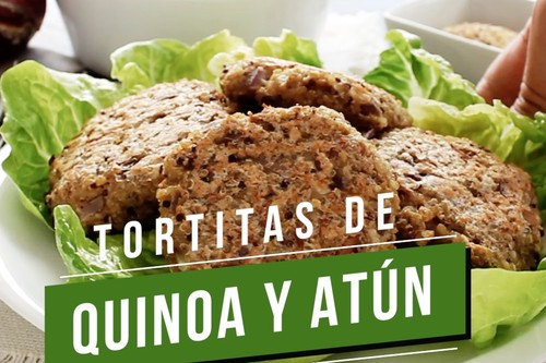 Tortitas de quinoa y atún. Receta saludable en video