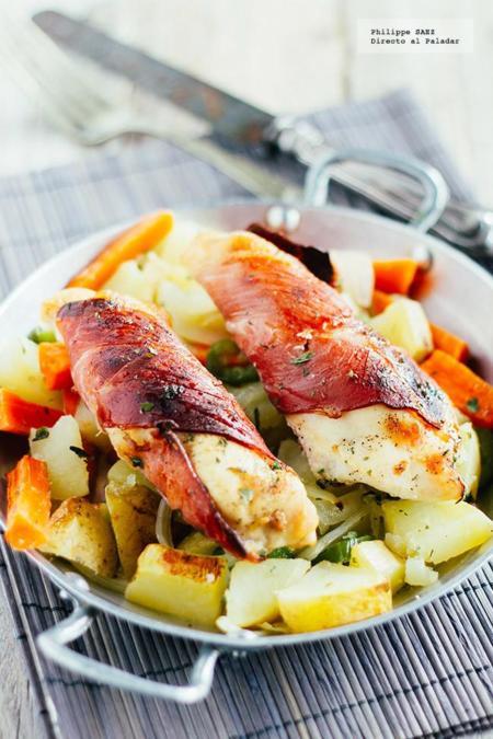 Pechugas de pollo envueltas en jamón serrano. Receta