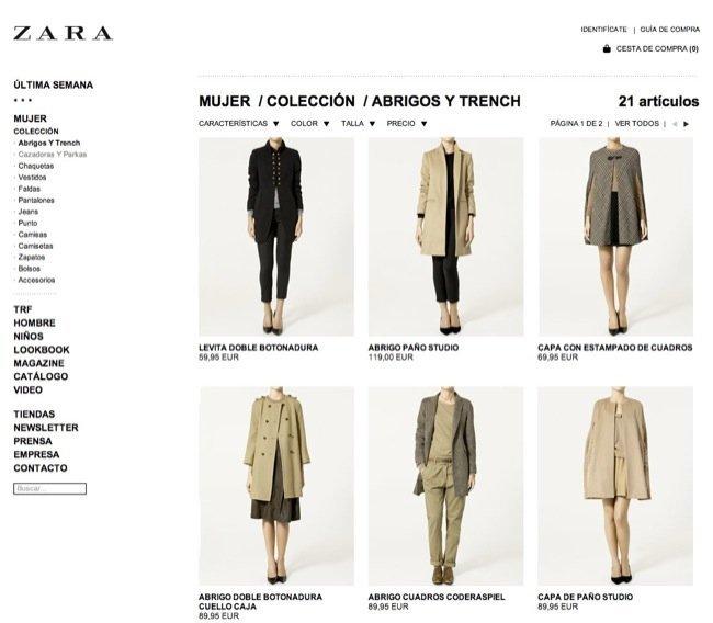 zara tienda e ropa online
