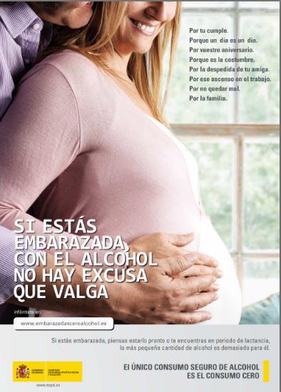 Cartel embarazo y alcohol