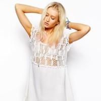 vestido blanco crochet asos