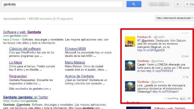 Añade en Chrome los resultados de Twitter en tiempo real junto a los de Google con HashPlug