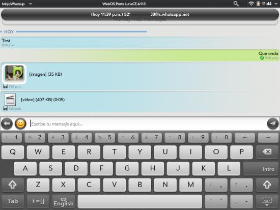 MojoWhatsup, cliente de WhatsApp para webOS