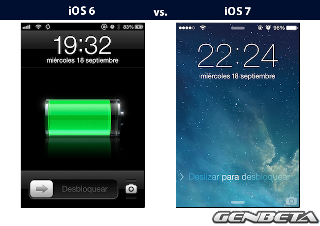 iOs 6 vs iOs 7 - lockscreen
