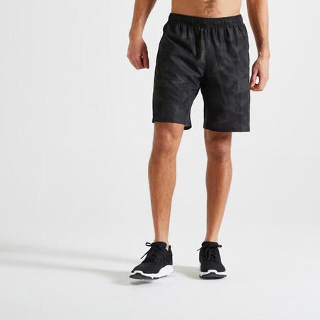 Short Pantalon Corto Hombre Domyos Fitness Bolsillos Cremallera Verde Caqui