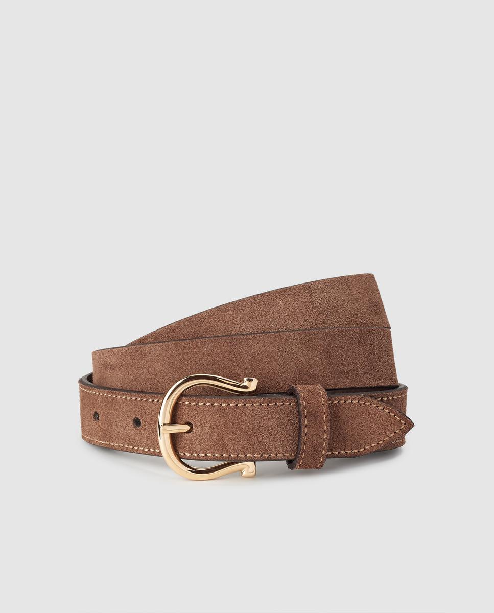 Cinturón de mujer El Caballo de piel serraje en marrón
