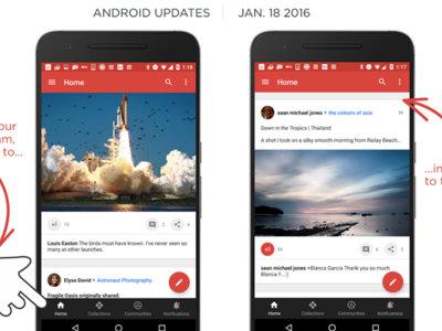 Google+ 7.1.0 sigue mejorando la usabilidad de su aplicación con un pequeño atajo