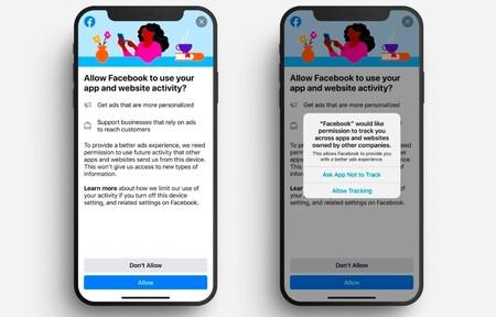 Con este aviso en iOS, Facebook te notificará si quieres, o no, compartir tus datos para fines publicitarios