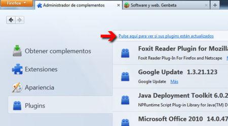 Comprobar plugins en Firefox