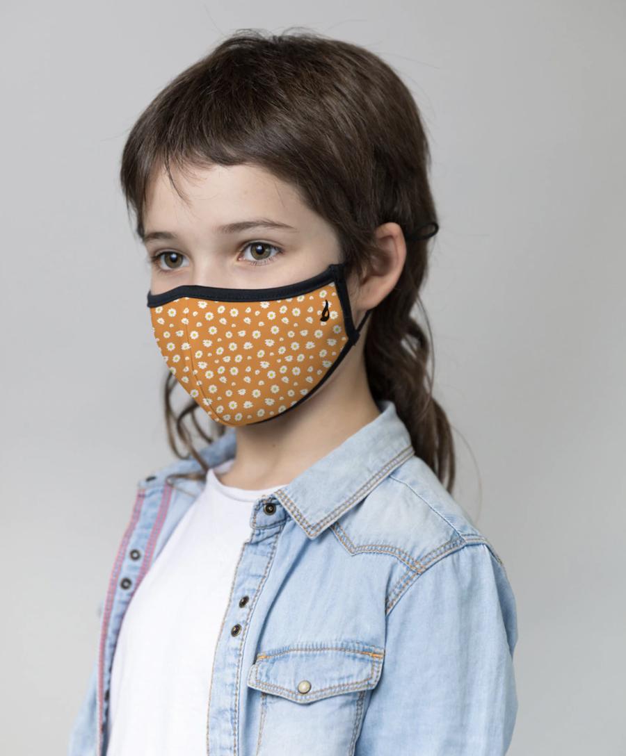Mascarilla de tela higiénica Abbacino lavable y reutilizable infantil en naranja con estampado floral