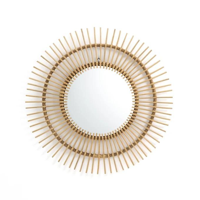 Espejo de ratán forma sol, Ø90 cm, Nogu