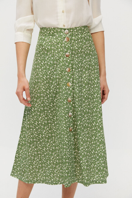 Falda Verde Cortefiel