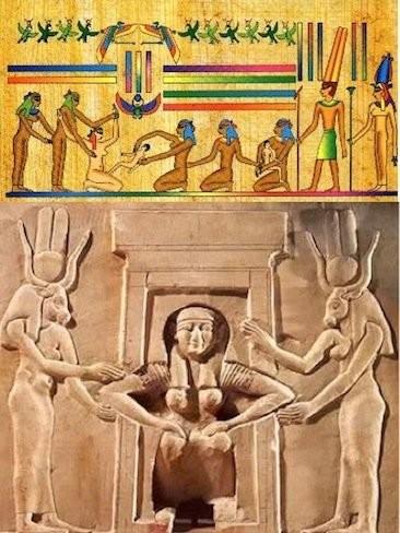 Partos verticales en el arte egipcio