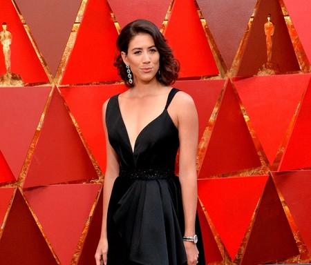Oscar 2018: Garbiñe Muguruza lleva la moda española a la alfombra roja con un diseño en negro de Hannibal Laguna