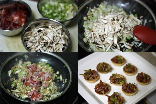 Tartaleta de champiñones, ajetes y jamón serrano. Pasos