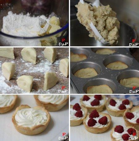 Pasos de la elaboración de la tarta de frambuesas