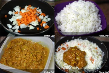 Arroz salteado con curry. Pasos