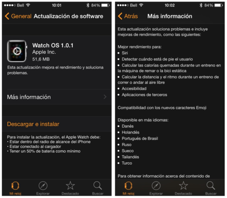 Actualizacion Apple Watch