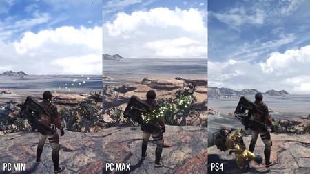 Así luce Monster Hunter World en PC con los ajustes al mínimo, al máximo y frente a la versión de PS4