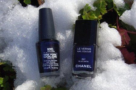 Duelo de esmaltes azules: Chanel Blue Satin vs N.Y.C. West Village