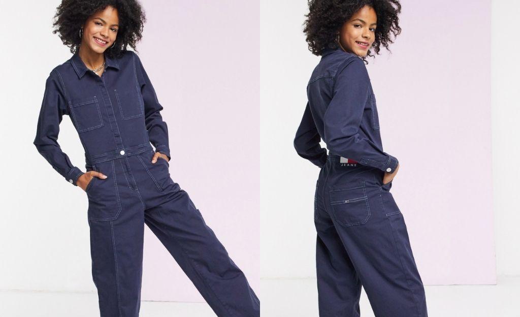 Mono estilo worker denim cn diseño utilitario en azul de Tommy Jeans
