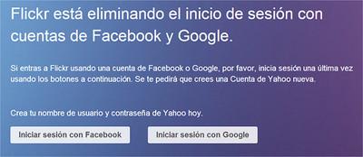 Flickr dejará de permitir nuevos registros mediante cuentas de Facebook y Google