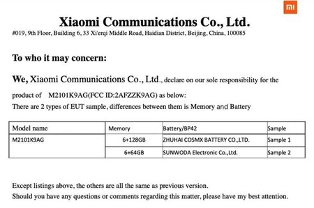 Xiaomi Mi 11 Lite en la FCC