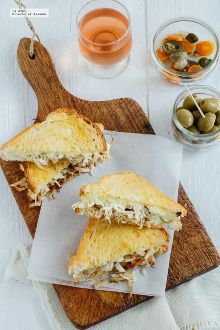 Sándwich de pollo y queso camembert. Receta