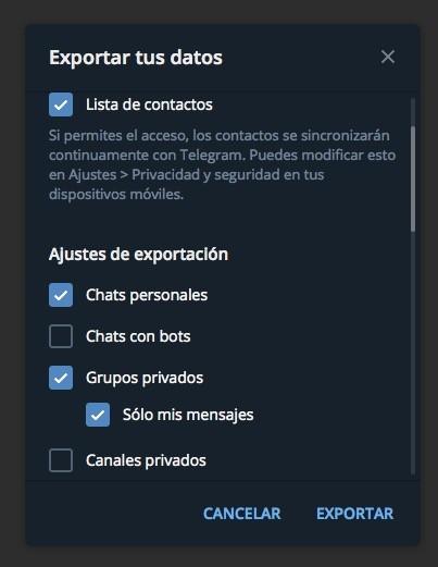 Telegram Mac Opciones Exportar