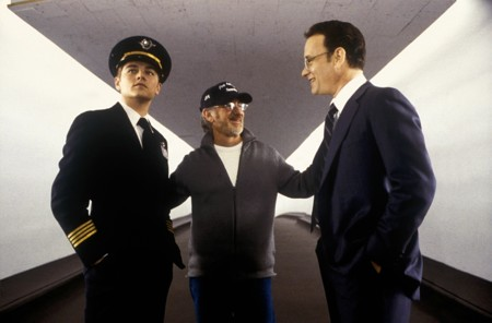 DiCaprio, Spielberg y Hanks en el set de Atrápame si Puedes