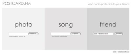 Postcard.fm, creando nuestras audio-postales electrónicas