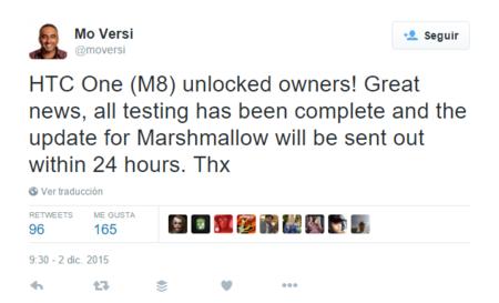 El HTC One M8 desbloqueado recibirá Android 6.0 Marshmallow mañana