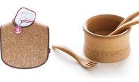 Babero de corcho y bol de bambú