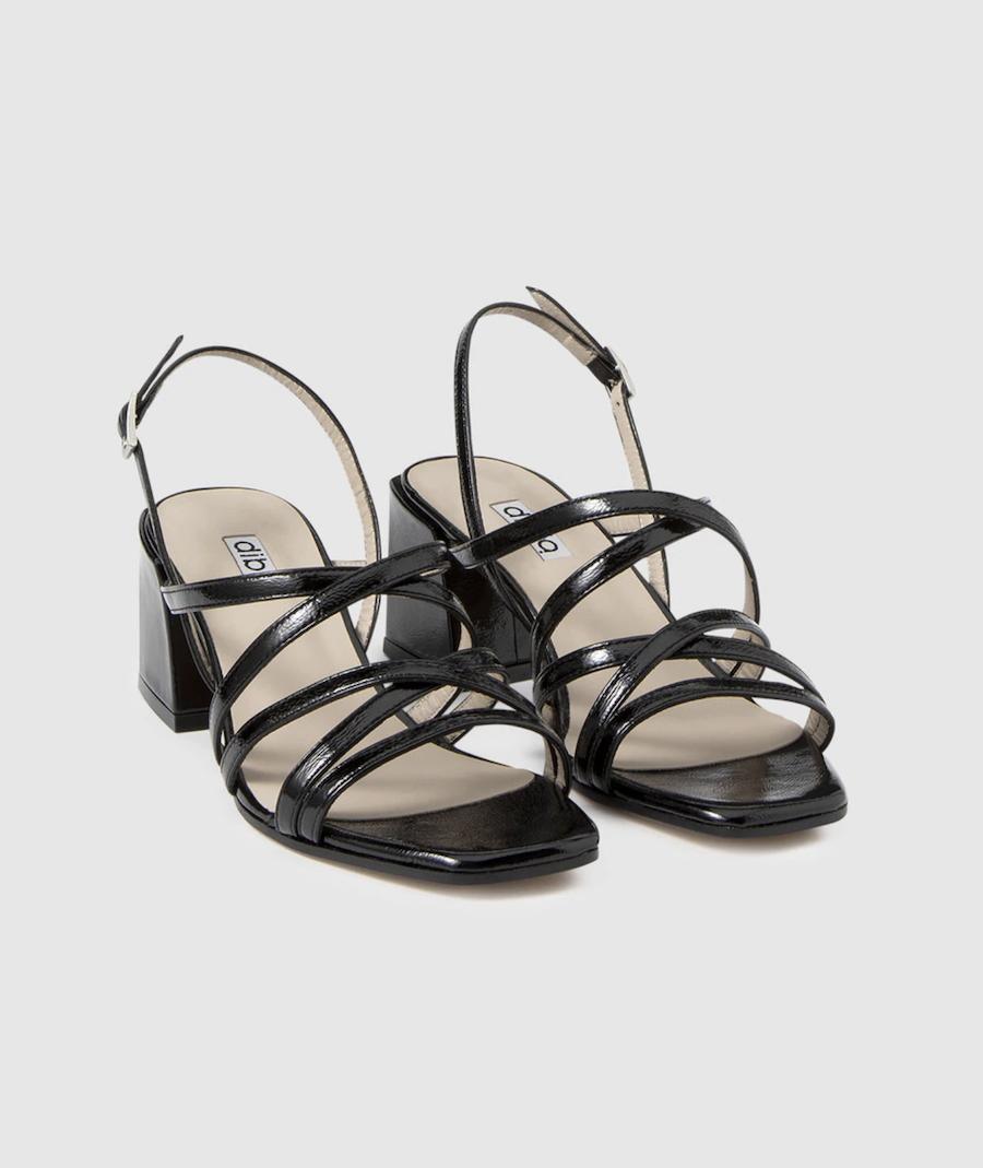 Sandalias de tacón de mujer Dibia de charol negro