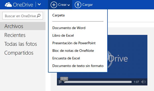 OneDrive, crear documentos