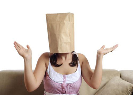 Woman Wearing Paper Bag Head