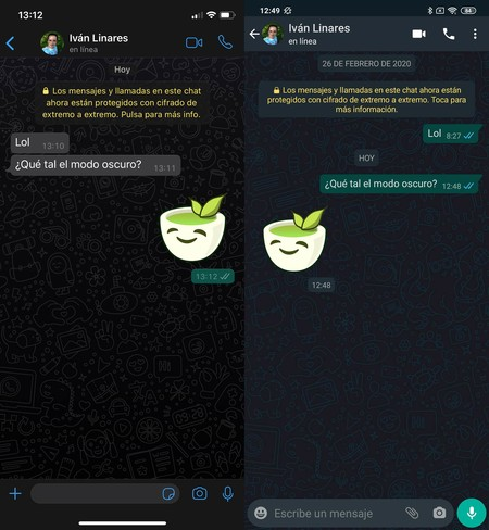 Whatsapp Comparativa Modo Oscuro Android Iphone