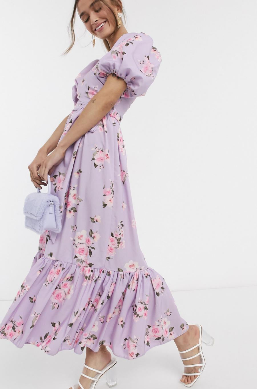 Vestido midi de manga abullonada con diseño cruzado y bajo de volante en estampado floral lila exclusivo de John Zack Petite