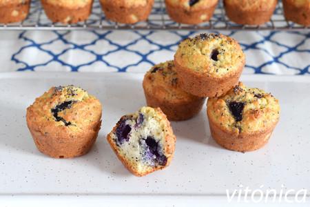 Mini muffins keto con arándanos