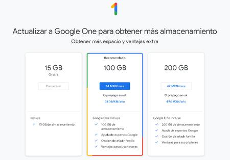 Google One Almacenamiento Nube Comprar Espacio