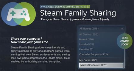 Steam Family Sharing permitirá compartir juegos con familia y amigos