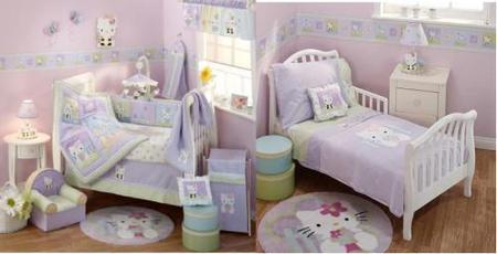 cama y cuna de Hello Kitty