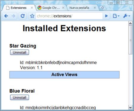 Lista de temas instalados en Chrome
